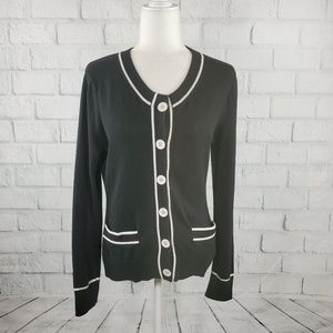 Tommy Hilfiger - black and white button down cardi